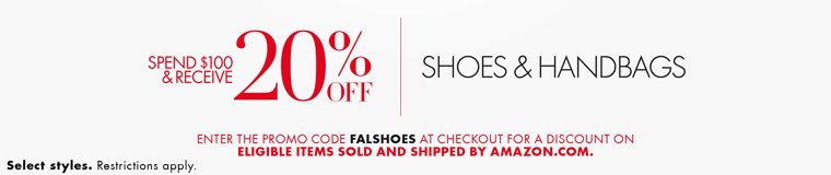 November Extra 20% off promo code 'FALSHOES' on spending $100 of shoes & handbag