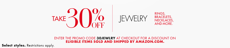 November direct extra 30% off promo code '30JEWLRY' on Jewelry of rings/bracelets by Amazon