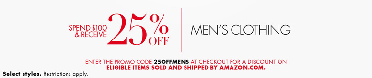 Extra 25% off November promo code '25OFFMENS' on spending $100 men's clothing by Amazon