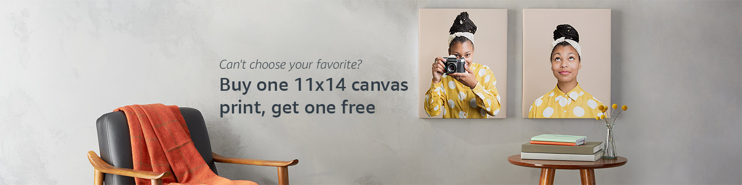 Buy one 11x14 photo canvas, get a second free.